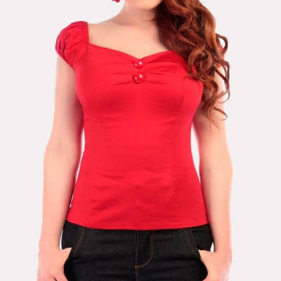 Top liso Dolores en rojo