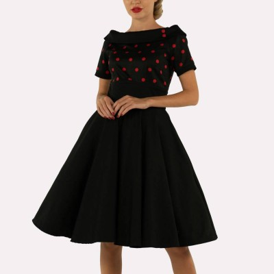 Black dress with red flowers print