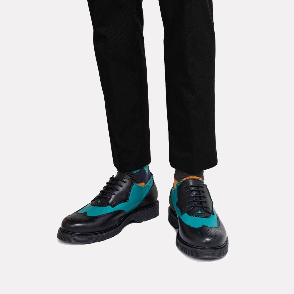 turquoise and black shoes