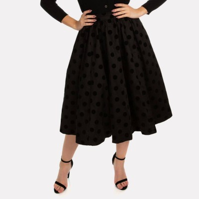 Falda Suzie Swing en Negro Flocking