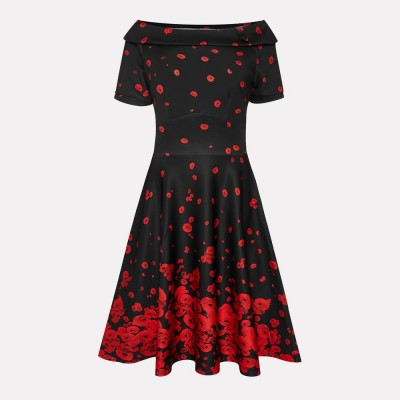 Vestido swing Raising Poppy Flower en negro