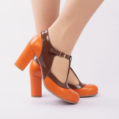 Ada orange et cuir verni marron
