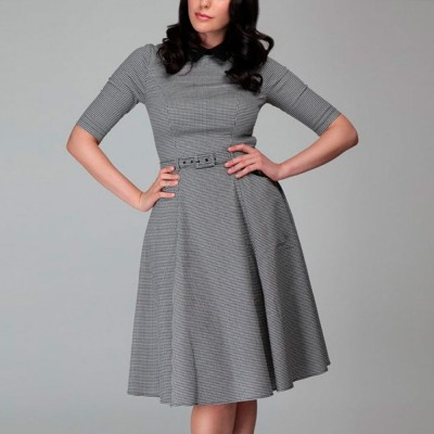 Winona Houndstooth Swing Dress