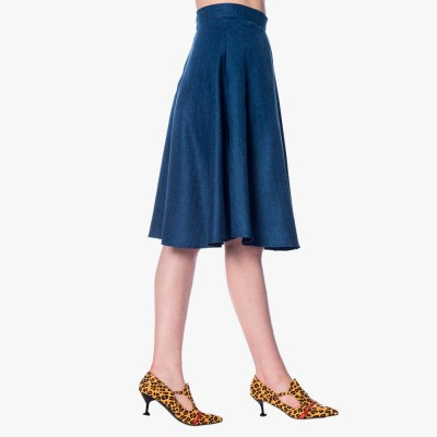 Secretary Flare Skirt in Blue