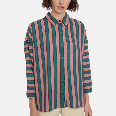 Oversize pink and green striped shirt