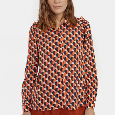 Two-tone hearts print shirt