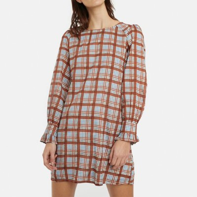 Brown tartan check flared dress