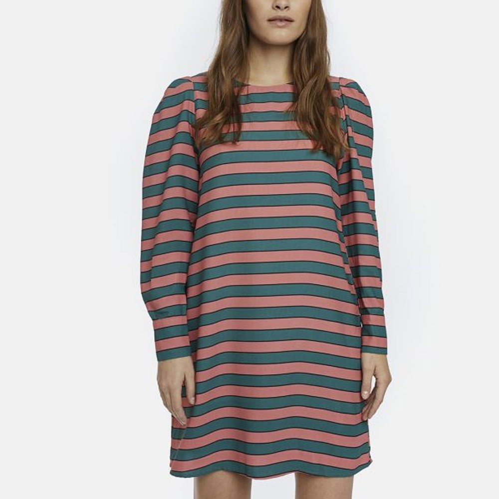 Pink and green striped volume dress