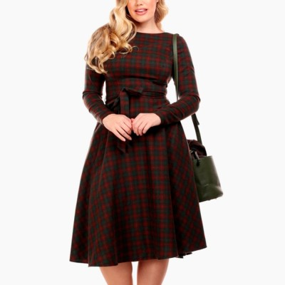 Arwen Woodland Pine Check Swing Dress
