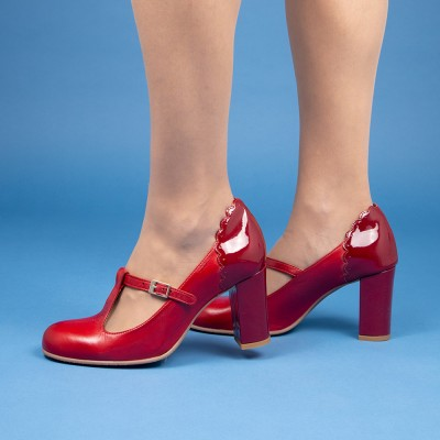 Pamela red duotone patent leather