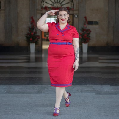 Regina Red and blue fitted dress