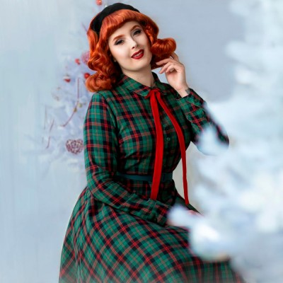 Brenda tartan green and red dress