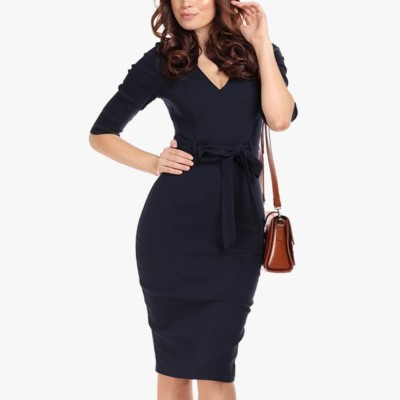 Meadow Pencil Dress in Navy