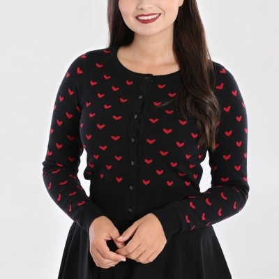 Corazón CardiganLadies Top Knitted in Black and Red