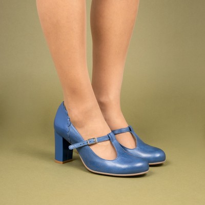 Pamela blue duotone patent leather