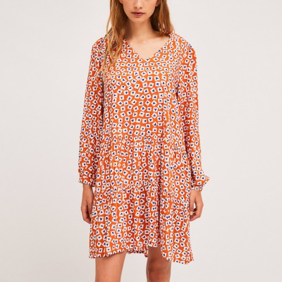 A-line dress with heart print ruffle