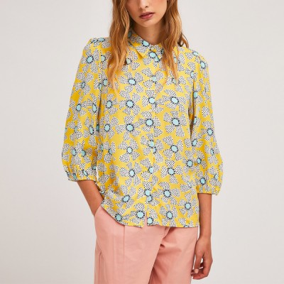 French sleeve wild flower print shirt