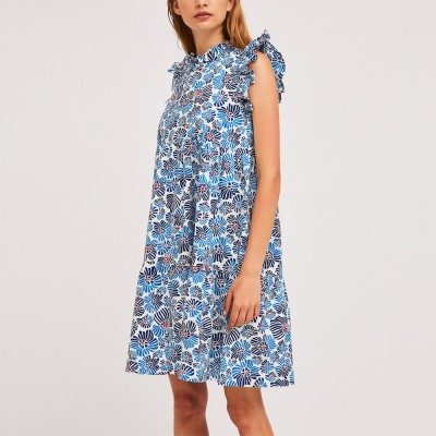 Short blue flower print babydoll dress