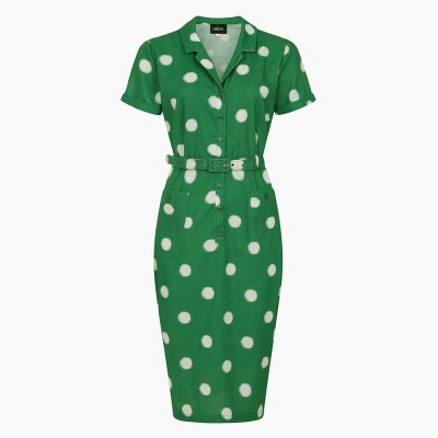 Caterina Painted Polka Pencil Dress in green