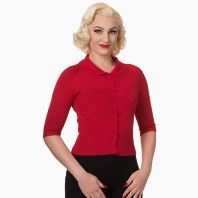 April Short Sleeve Cardigan in red